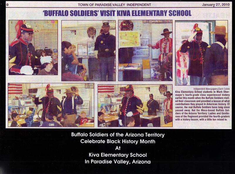 """ARIZONA BUFFALO SOLDIERS, MESA, AZ... Kiva Elementary School, (4th Grade Students) Paradise Valley, AZ.""""Black History Month"""". Buffalo Soldiers of the Arizona Territory. January 14, 2010."""