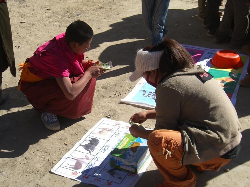 Tibetan Monk Gambling - Xiahe, China