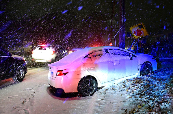 11/15/2018 MIke Orazzi | Staff A one car crash on Birch Street near Pine Street during Thursday's snow storm. No injuries were reported.