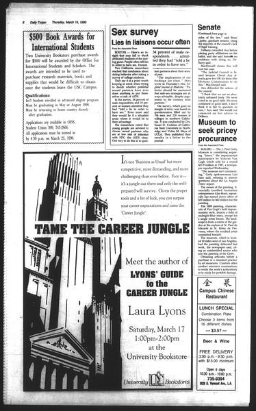 Daily Trojan, Vol. 111, No. 43, March 15, 1990