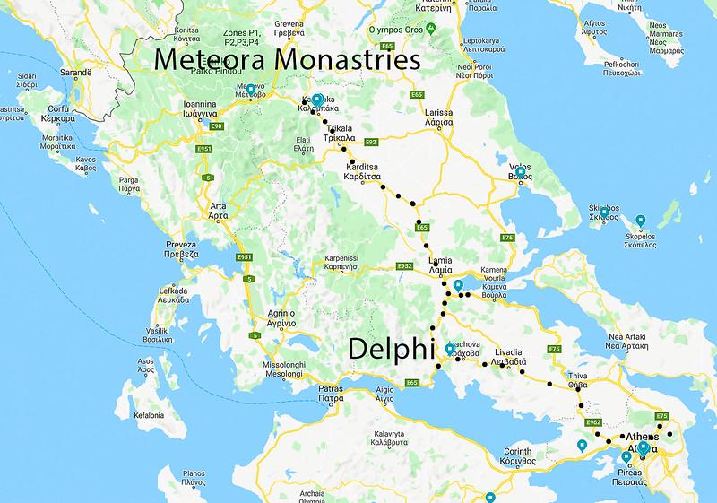 Athens Delphi Meteor google map.jpg