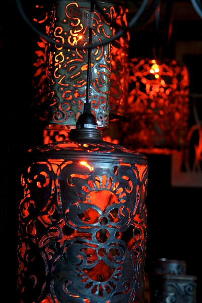 The larger pierced/recycled lanterns.  They remind me of Moroccan lanterns!