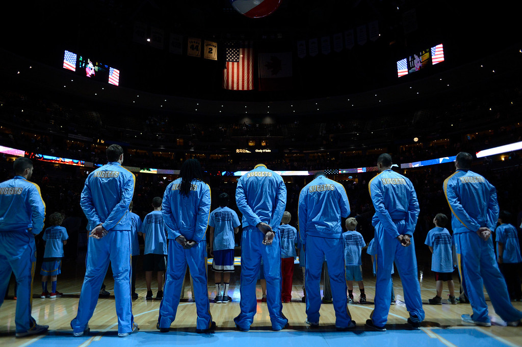 . Denver Nuggets during the national anthem against the Orlando Magic Wednesday, January 9, 2013 at Pepsi Center. John Leyba, The Denver Post