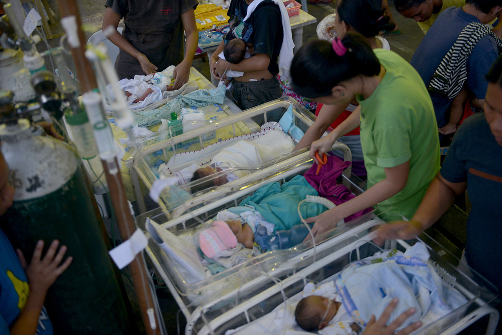 . New born babies are treated at a temporary shelter after the hospital was damaged following a 7.1-magnitude quake in Cebu on October 15, 2013.  AFP PHOTO / Jay  DIRECTO/AFP/Getty Images