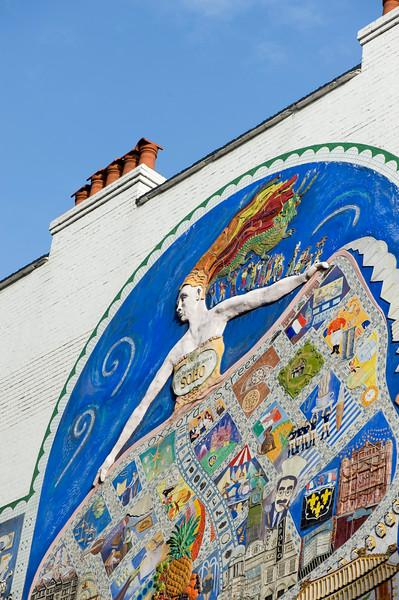 Mosaic on the wall, W1, London, United Kingdom