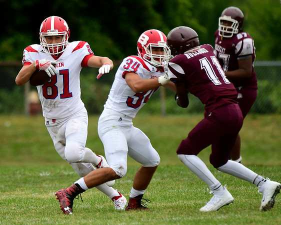 9/8/2018 Mike Orazzi | Staff Berlin's Giancarlo Tufano (81) against Bulkeley/HMTCA/Weaver in Hartford Saturday.