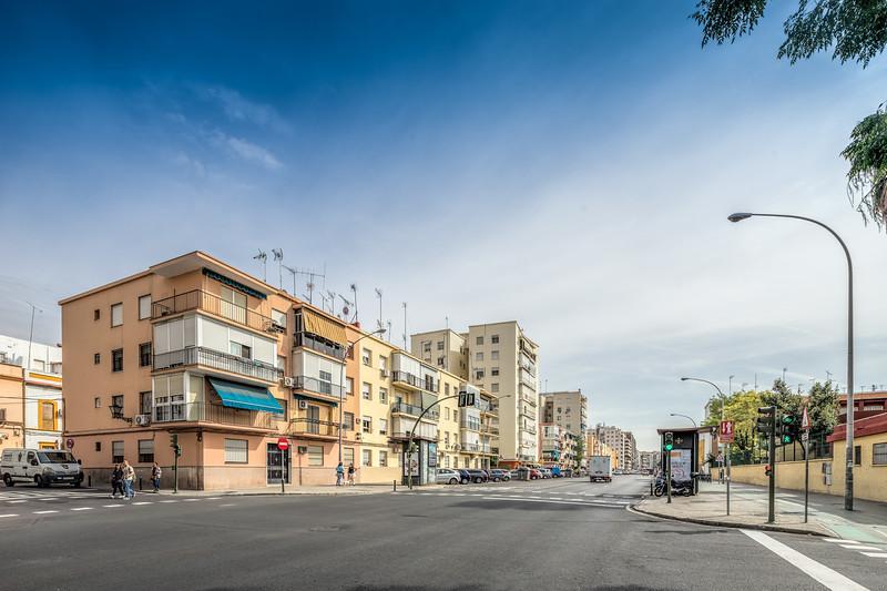 Apartment building on Lopez de Gomara street, Triana district, Seville, Spain.