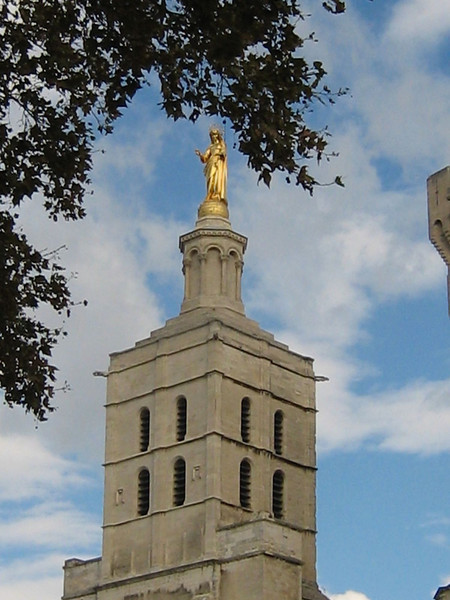 Avignon, France - Golden Virgin Mary atop the Cathedral Notre-Dame
