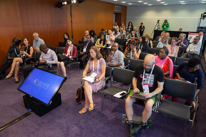 The Netherlands, Amsterdam, 25-7-2018. Press conference: The future of HIV funding: the public, questions.Photo: Rob Huibers for IAS. (Please publish always with complete attribution).