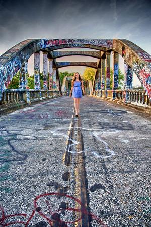 Walking the line. on graffiti bridge.