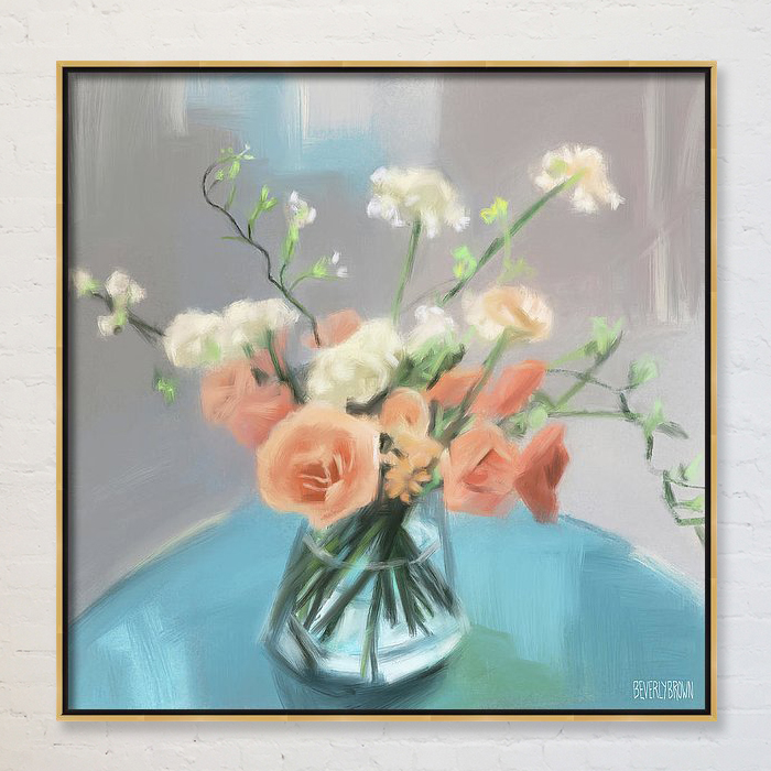 Peach Roses Floral Wall Art on Canvas by Beverly Brown