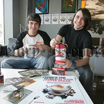 Greame Finnegan Manager of Grounded Coffee is pictured with Barry Johnston during Christian Aid Week. Greame will be donating revenue from Coffee Tea and Hot Chocolate sales for a 3hour peri ...