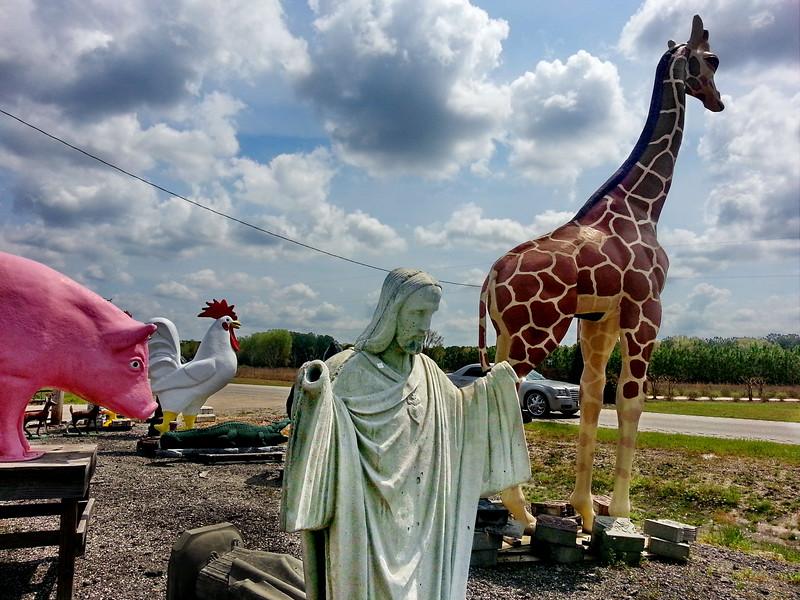 Jesus and giant animals. Bethune, South Carolina. April, 2014.