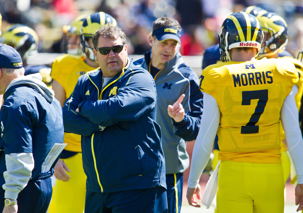 . Michigan head coach Brady Hoke watches his offensive, including quarterback Shane Morris (7), run though drills, during the football team\'s annual spring game, Saturday, April 5, 2014, in Ann Arbor, Mich. (AP Photo/Tony Ding)