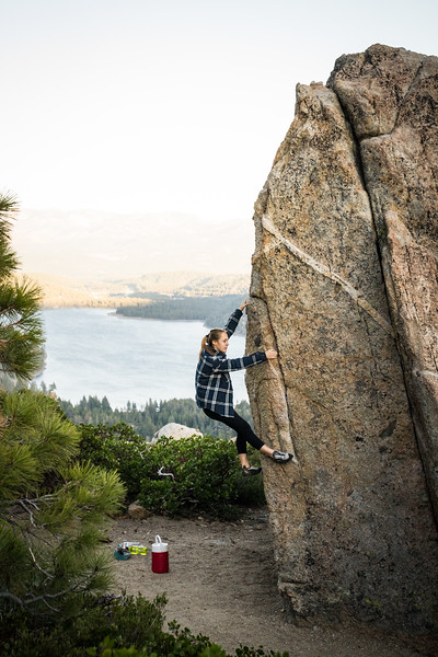 Woman Climber over Donner Lake