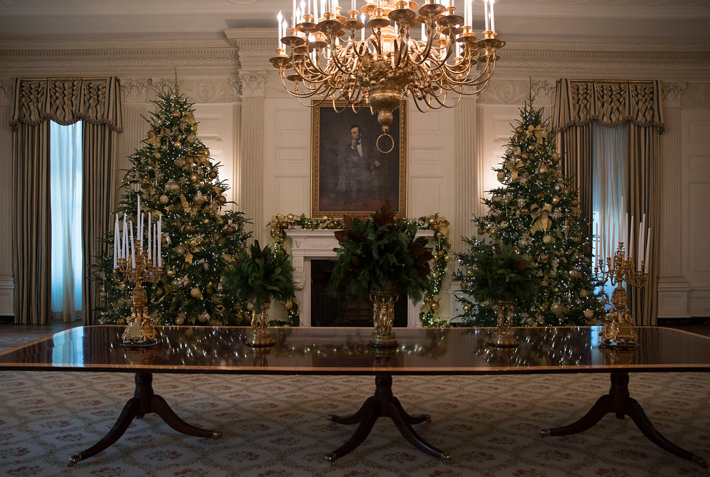 . The State Dining Room is seen during a media preview of the 2017 holiday decorations at the White House in Washington, Monday, Nov. 27, 2017. (AP Photo/Carolyn Kaster)
