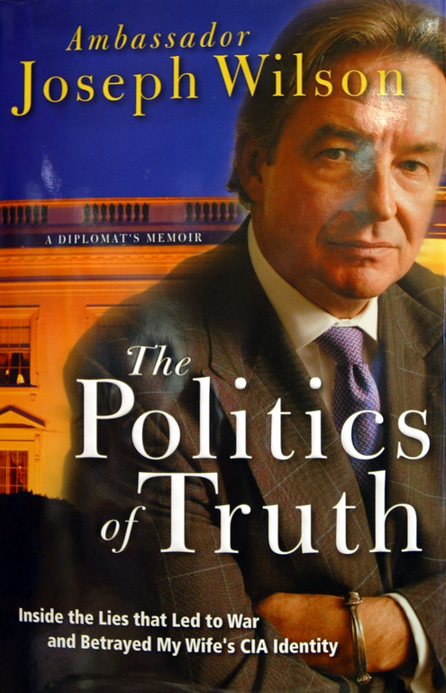 """. NEW YORK - APRIL 30:  Ambassador Joseph Wilson\'s long-awaited book, \""""The Politics of Truth,\"""" is seen in a Barnes and Noble store April 30, 2004 in New York City. The book attempts to identify which administration official leaked the name of his wife Valerie Plame as a CIA operative. (Photo by Mario Tama/Getty Images)"""