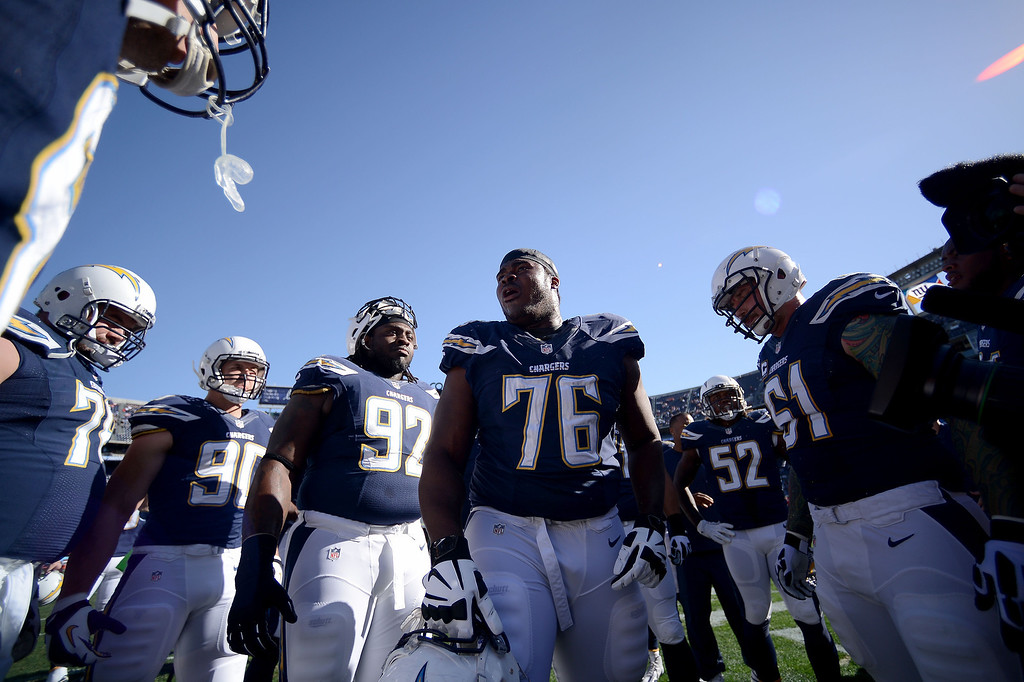 . D.J. Fluker #76 of the San Diego Chargers pumps up his team in the huddle before the game against the Kansas City Chiefs on December 29, 2013 at Qualcomm Stadium in San Diego, California. (Photo by Donald Miralle/Getty Images)