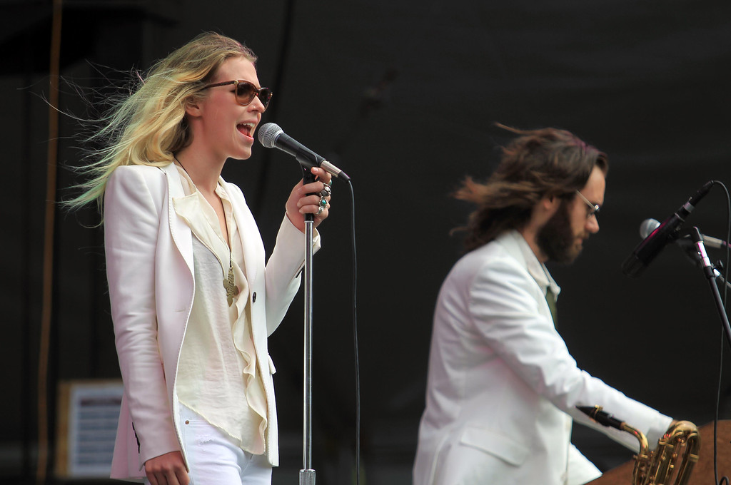 . Natalie Bergman and her brother Elliott, right, of Wild Belle, perform on the Twin Peaks stage during the 6th annual Outside Lands Music and Arts Festival in Golden Gate Park in San Francisco, Calif., on Friday, Aug. 9, 2013.  (Jane Tyska/Bay Area News Group)