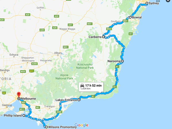 Sydney to Melbourne road trip map