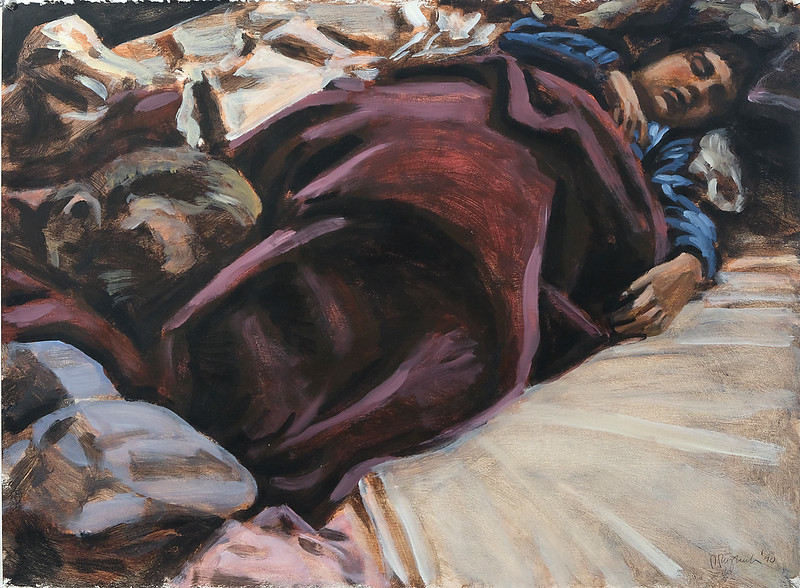 Sleeping child and blanket, acrylic on paper, 22 x 30 in, 1990