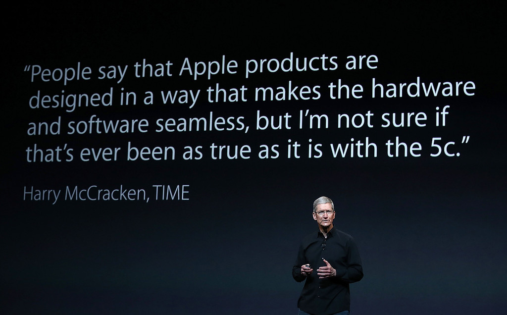 . Apple CEO Tim Cook speaks during an Apple announcement at the Yerba Buena Center for the Arts on Oct. 22, 2013 in San Francisco, California. The tech giant is expected to announce its new iPad 5, iPad mini 2, OS X Mavericks and possibly a new retina MacBook Pro.  (Justin Sullivan/Getty Images)