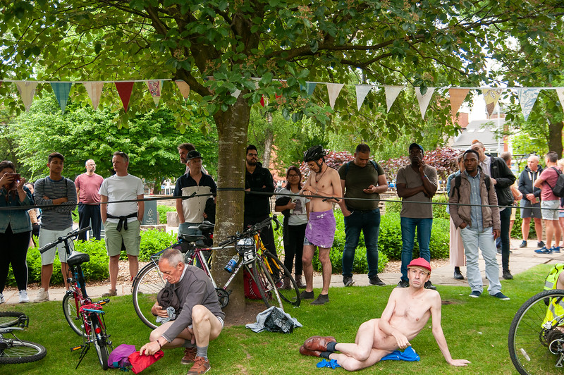 Cyclists in the World Naked Bike Ride2018, Manchester UK