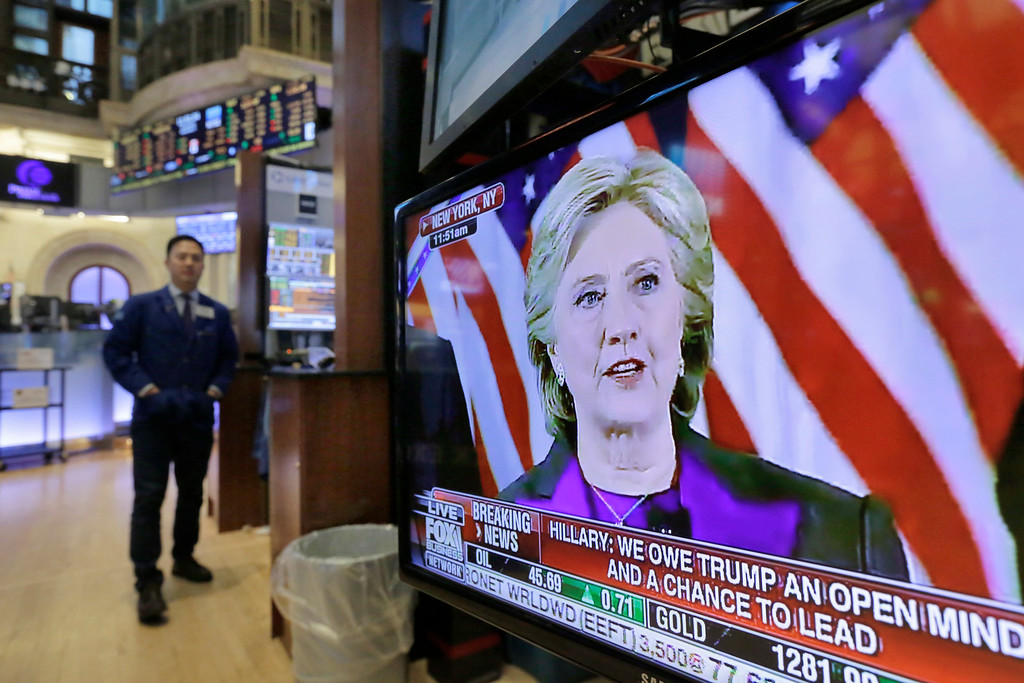 . Democratic presidential candidate Hillary Clinton\'s speech is seen on a television screen on the floor of the New York Stock Exchange in New York, Wednesday, Nov. 9, 2016. Stocks are moving solidly higher in midday trading on Wall Street following Donald Trump\'s upset victory over Hillary Clinton in the U.S. presidential election. (AP Photo/Richard Drew)