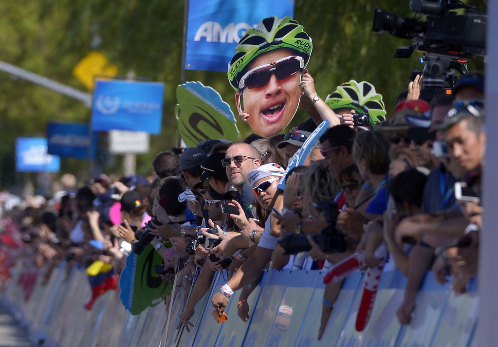 . Fans hold up pictures of Peter Sagan, of Slovakia, during the third stage of the Tour of California cycling race, Tuesday, May 14, 2013, in Santa Clarita, Calif.  (AP Photo/Mark J. Terrill)