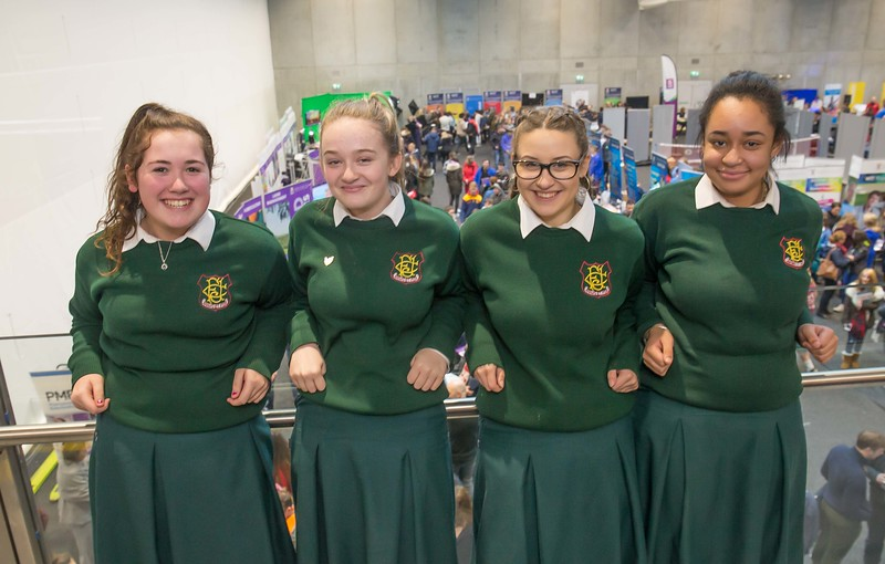Abbi Kelly, Laura Ogwueleka, Chloe Kavanagh and Angelika Batko, FCJ Bunclody during the Waterford Institute of Technology Schools' Open Day at the WIT Arena. On Saturday, 20 January, WIT is running another open day, the #StudyatWIT Open Day which will have information available on all courses available across WIT's schools of Lifelong Learning, Humanities, Engineering, Science & Computing, Health Sciences, Business. Picture: Pat Moore