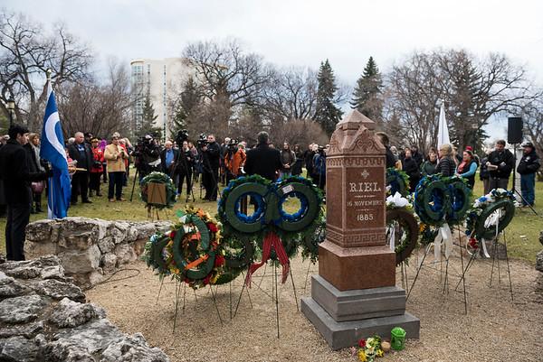 A Louis Riel Commemoration Ceremony at Louis Riel's grave site at the St. Boniface Basilica Grounds Wednesday November 16, 2016. (David Lipnowski for Metro News)