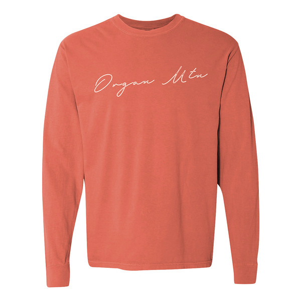 Organ Mountain Outfitters - Outdoor Apparel - Womens T-Shirt - Organ Mtn Script Long Sleeve Tee - Bright Salmon 3D.jpg