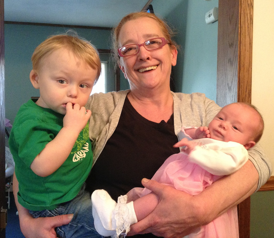 ". Blake, MeMe (Cherie) and Miranda. Nicole Haas writes, ""A grandma\'s hands are never empty :)\"" Photo submitted by Nicole Haas."