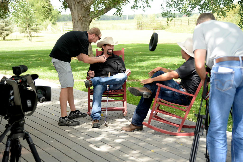 . KERSEY, CO - AUGUST 14: Todd Helton prepare to do an interview with former teammate Ryan Spilborghs, now of Root Sports, at Helton\'s ranch. Former Colorado Rockies first baseman Todd Helton was photographed at his ranch on Thursday, August 14, 2014. (Photo by AAron Ontiveroz/The Denver Post)
