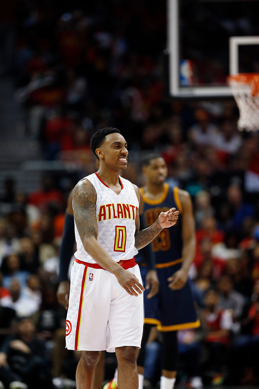 . Atlanta Hawks guard Jeff Teague (0) reacts to play against the Cleveland Cavaliers in the second half of Game 3 of the second-round NBA basketball playoff series, Friday, May 6, 2016, in Atlanta. (AP Photo/John Bazemore)