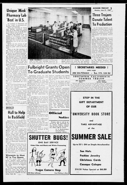 Summer Trojan, Vol. 10, No. 3, June 27, 1960