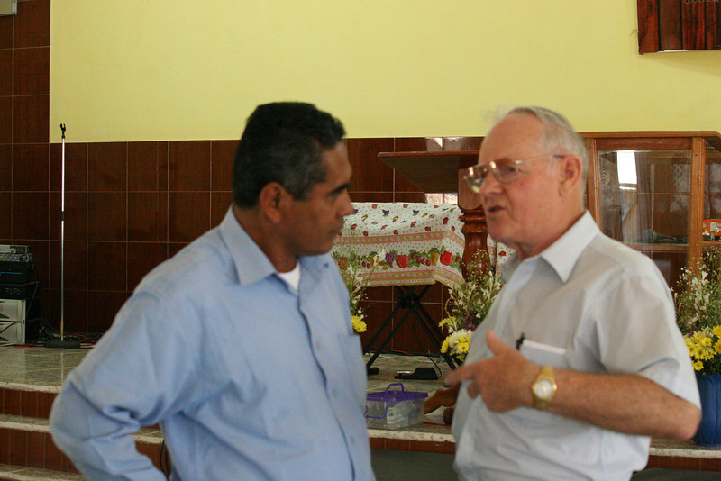 Pastor Juan and Dr. George Meyers talking after the service on Sunday morning.  This service was actually a Sunday School service.  The main services are at night because it is too hot during the daytime hours to have a long service.