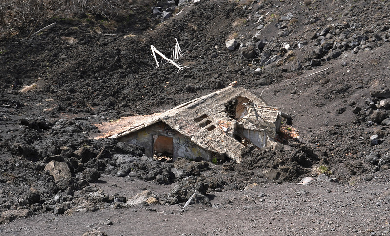 Home destroyed by eruptions of Mount Etna