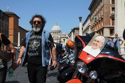 Harley Davidson enthusiasts at the HD110th Anniversary European Celebration in Rome Italy