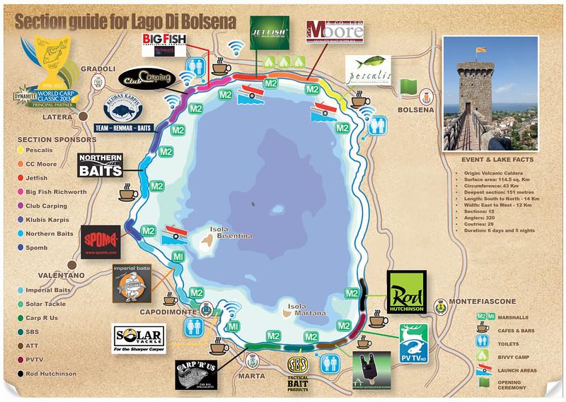 World Carp Classic 2013 Section Sponsors Map