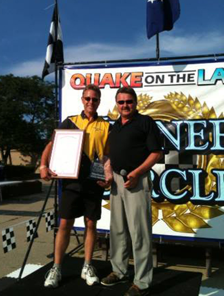 . Farmington Hills resident Jim Sechler was awarded the Governor�s Cup at the 14th annual Quake on the Lake hydroplane boat race. Sechler�s team, Y-1 Fast Eddie Too, achieved the highest overall point total at the event, held this past weekend on Pontiac Lake. Organizers said there was a two-way tie between Sechler and Calvin Phipps of Macomb, but Sechler�s driver, Dan Kanfoush, was closer to the class record, and this factor broke the two-way tie. Sechler, left, was presented with the award, as well as a proclamation from Gov. Rick Snyder�s office, by state Sen. Mike Kowall, right, a Republican from White Lake Township.