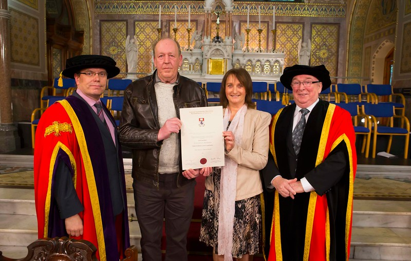 Waterford Institute Of Technology Conferring. Pictured at WIT Waterford Institute Of Technology Conferring is Walter and Joan Comerford from Kilkenny who collected the Graduation Cert on behalf of their son Niall who passed away. Also pictured is Dr. Ruaidhrí Neavyn, President, WIT and Dr Donnie Ormonde Chairman WIT.Picture: Patrick Browne