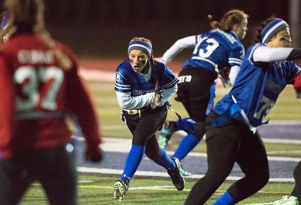 11/19/18 Wesley Bunnell | Staff Southington powder puff football vs Rocky Hill on Monday night at Southington High School