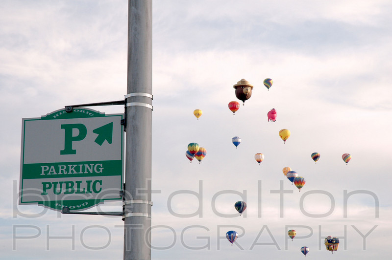 """Public Parking"" at hot air balloon launch at The Freedom Festival in Provo, Utah"