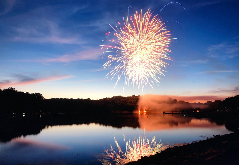 Fireworks over Lake Fairfax (Photo by my 7-year-old son, Daniel!)