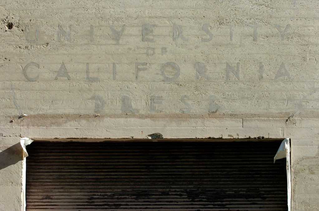 . Faded letters above a doorway point to the history of what will be the new Berkeley Art Museum and Pacific Film Archive in Berkeley, Calif. on Tuesday, April 30, 2013.  (Kristopher Skinner/Bay Area News Group)