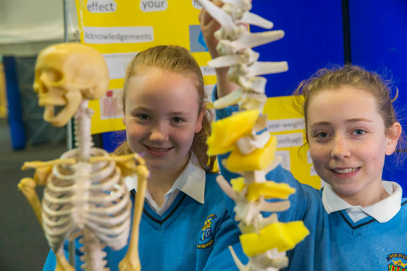 "01/05/2018. SciFest at WIT (Waterford Institute of Technology) at the Arena. Pictured are Aine Kavanagh and Niamh Gallagher from Mercy School, Waterford with their project ""does carrying a schoolbag affect your height. Picture: Patrick Browne"