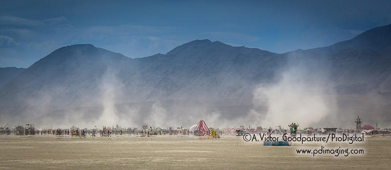 As Saturday afternoon wore on, the winds began and in turn, it kicked up the ultra-fine playa dust.