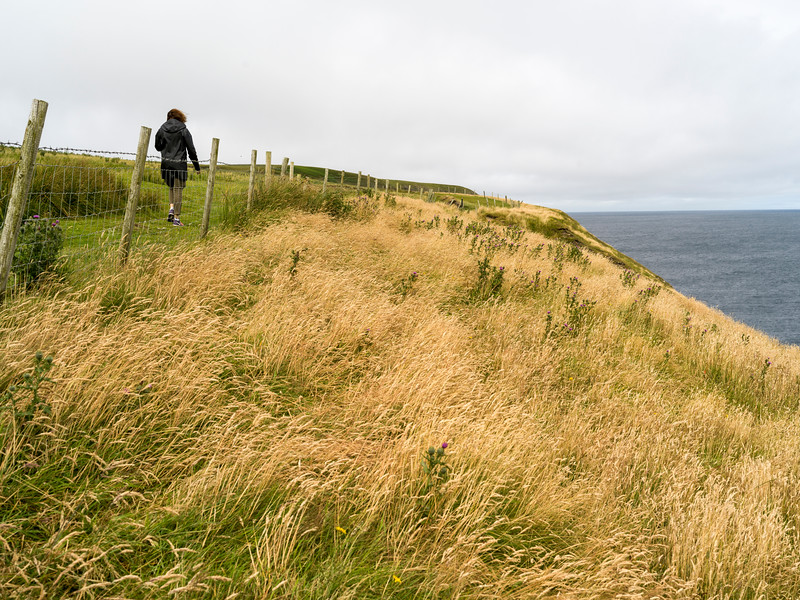 Woman hiking on trail, Erris Head Loop Walk, Belmullet, County Mayo, Ireland