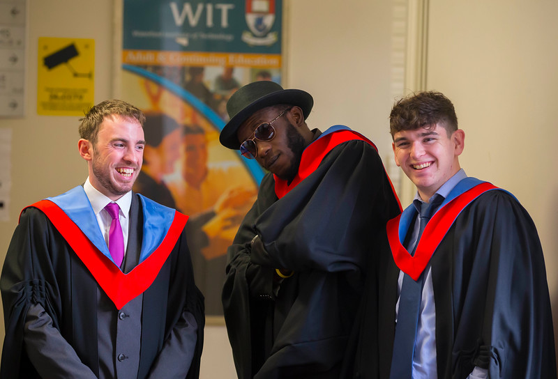 04/11/2016. Waterford Institute of Technology (WIT) Conferring Ceremonies November 2016: Pictured are Fergus Heraughty, Arklow, Co. Wicklow, Gianni Kapele, Waterford and Gohn Caulfield, Glenmore, Co. Kilkenny who graduated in Engineering in Electronic Engineering. Picture: Patrick Browne